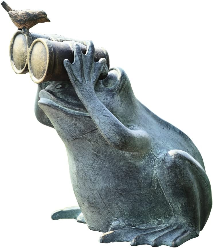 SPI Home 33758 Frog Spectator with Bird Statue