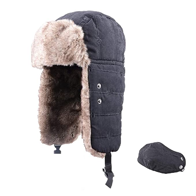 35ca807d854 TRIWONDER Winter Trooper Trapper Hat Ushanka Russian Ear Flap Aviator Hat  with Mask (Black -