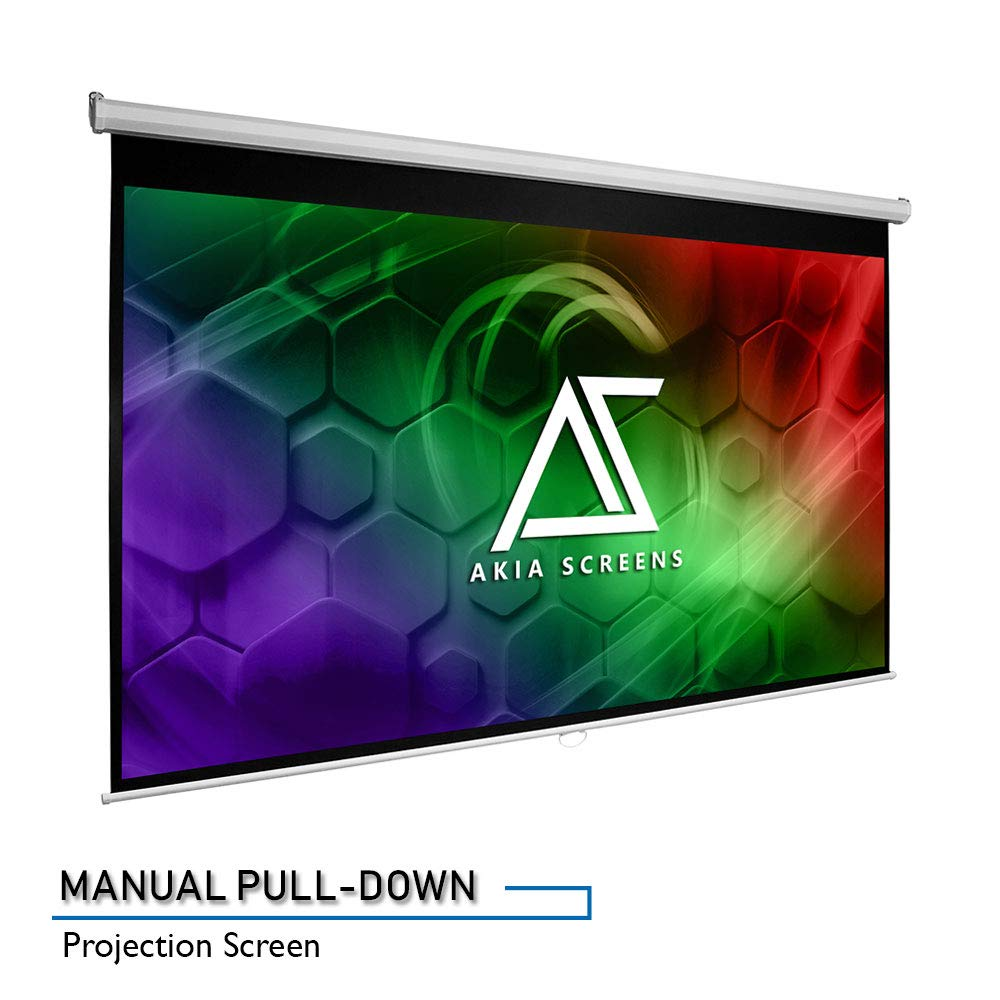 Akia Screens Manual B 100 inch 16:9 Pull Down 8K 4K Ultra HD 3D Ready Movie and Home Theater Projector Screen with Slow Retract Mechanism AK-M100H1 by AKIA SCREENS