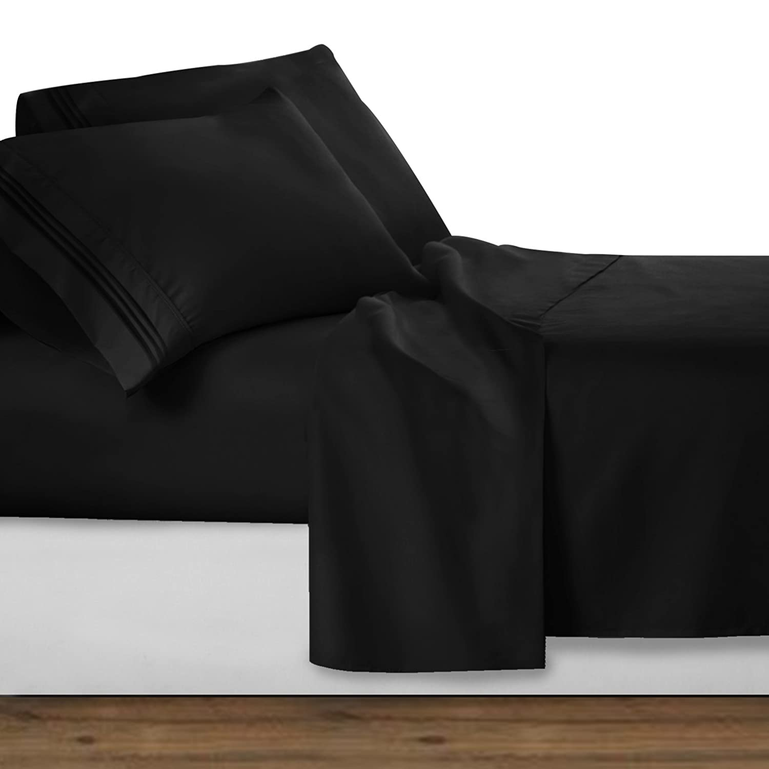Clara Clark Premier 1800 Collection 3pc Bed Sheet Set , Black