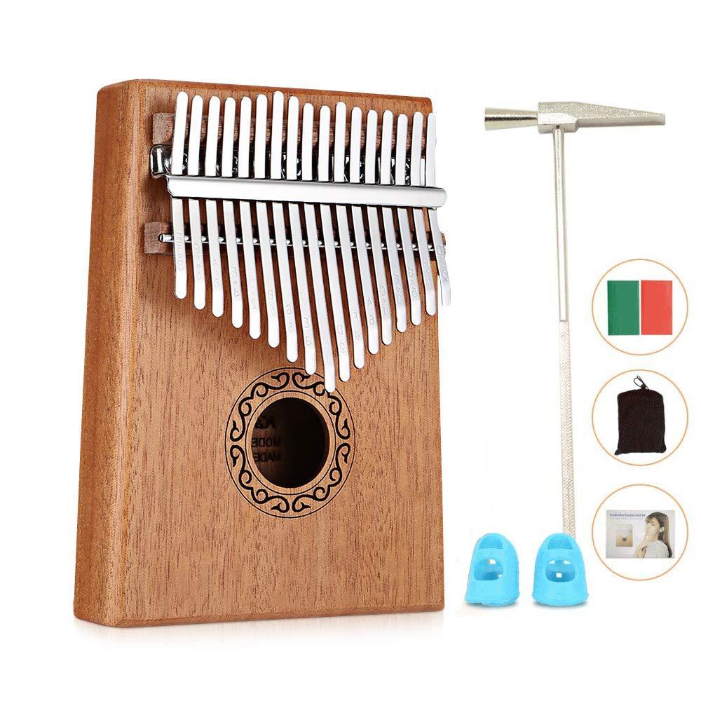Vencetmat 17 Key Kalimba Thumb Piano, Solid Mahogany Wood Body Finger Piano with Tune Hammer,Carry Bag,Pickup,Key Stickers