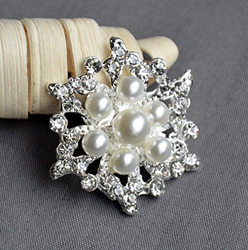 5 Large Rhinestone Button Embellishment Pearl Crystal Wedding Brooch Bouquet Invitation Cake Decoration Hair Comb Clip BT407 (Embellishment Perfect Pearls)