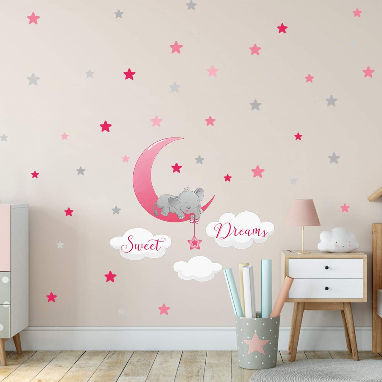 dise/ño de elefante durmiendo en la luna nubes y estrellas morado morado Adhesivo decorativo para pared