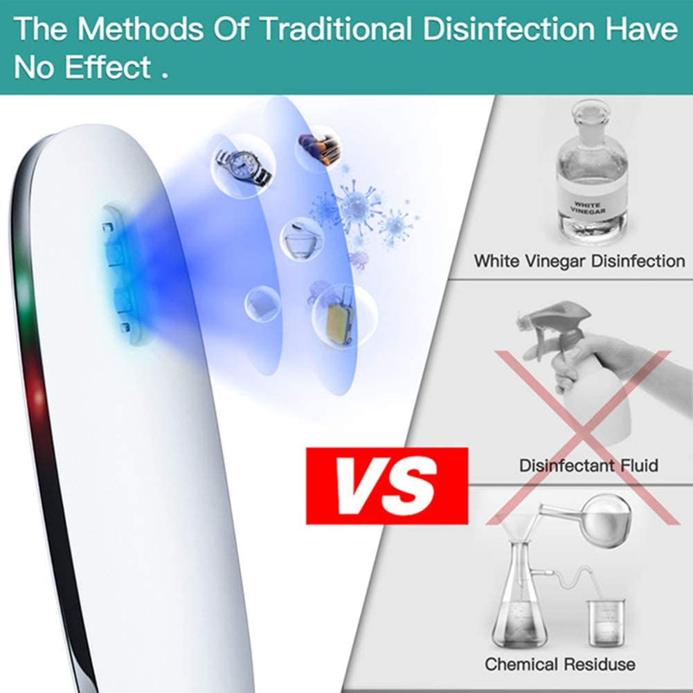 Protable UV-C Light Sanitizer Antibacterial Disinfection LED Lamp Wand Sterilizer Bacteria 99/% Killing Mold Viruses and Dust Mites for Travel Hotel Household Wardore Toilet Car Pet Area