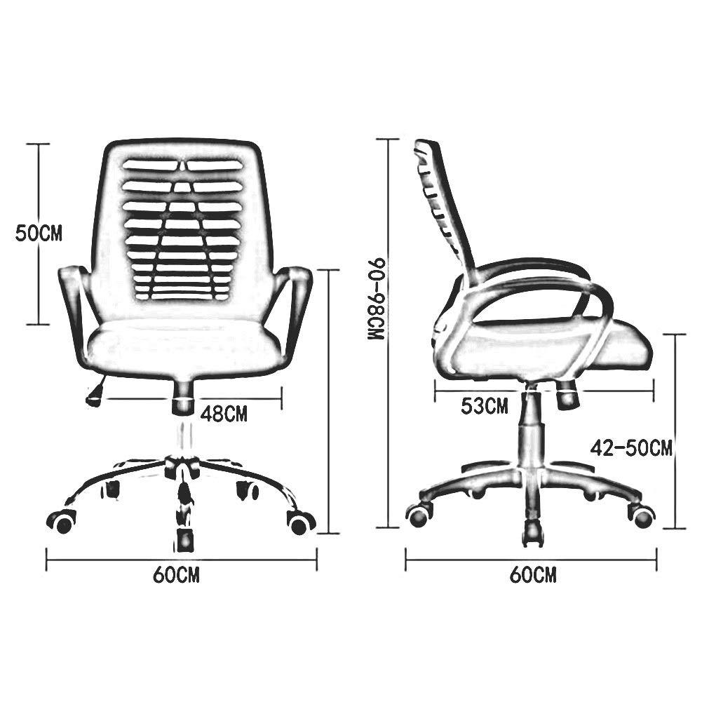 WYYY stolar kontorsstol ergonomisk andningsbar nätstol armstöd justerbar sitthöjd ländrygg stöd hållbar stark (färg: Blå) BLÅ