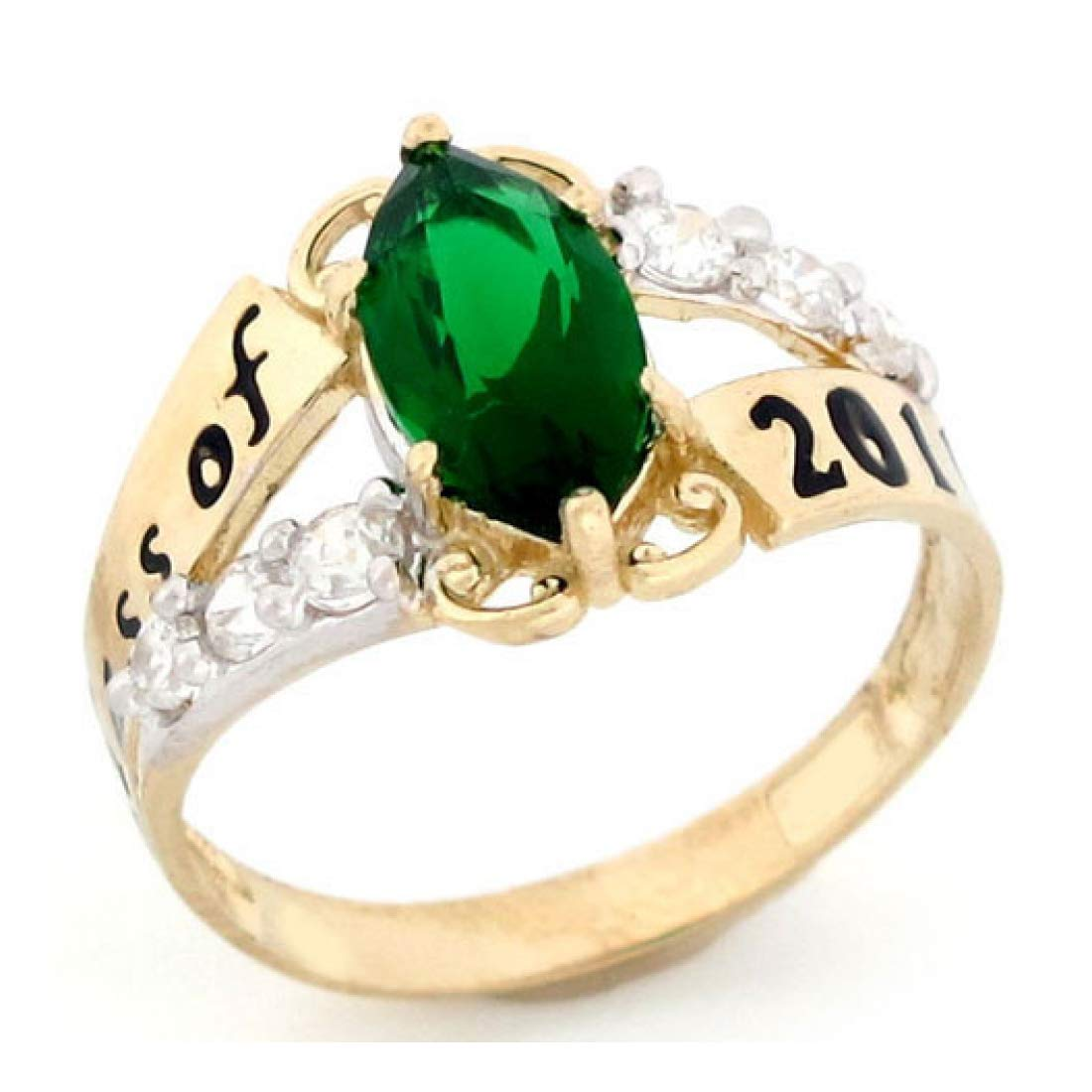 14k Gold Simulated May Birthstone 2019 Class Graduation Ring