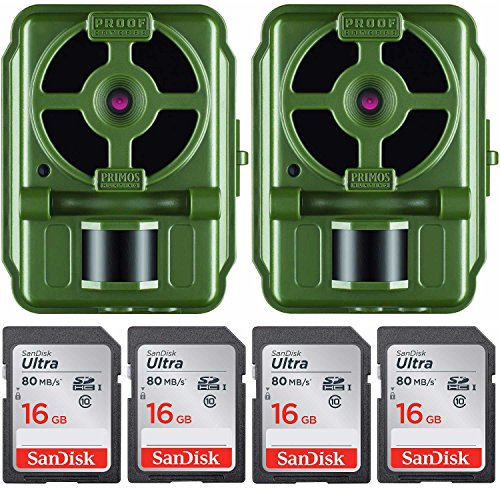 Primos 10MP Proof Cam 01 HD Trail Camera with Low-Glow LEDs, Green - Set of 2 with Memory Cards by Primos Hunting