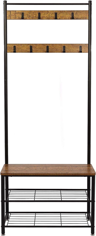 Cucina corridoio 5 Metallo Ganci Rimovibili per Ingresso Camera da Letto Soggiorno Meerveil Nero Stand Appendiabiti Vintage per Cappotti e Cappelli con Scarpiera a 3 Ripiani Porta Abiti