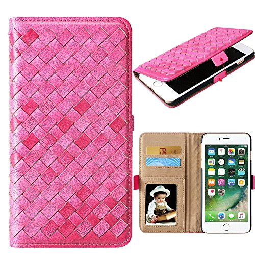 iPhone 7 Leather Case, Cornmi Handmade Genuine Sheepskin Weaving Leather Flip Stand Wallet Card Slot Case For iPhone 7 4.7