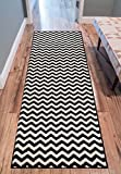 """Wandering Chevron Black Zig Zag Modern Casual Geometric 3 x 10 (2'7″ x 9'10"""" Runner) Area Rug Easy Clean Stain Fade Resistant No Shed Contemporary Abstract Funky Fun Shapes Lines Living Dining Room Review"""