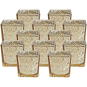 Glass Square Votive Candle Holder 2 25 H 12pcs Speckled Gold Mercury Glass Votive Tealight Candle Holders For Weddings Parties And Home D Cor