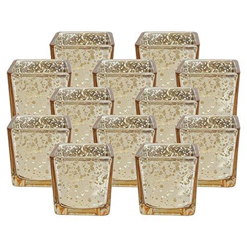 Decorative Votive Candles (Just Artifacts Mercury Glass Square VotiveCandle Holder 2.25