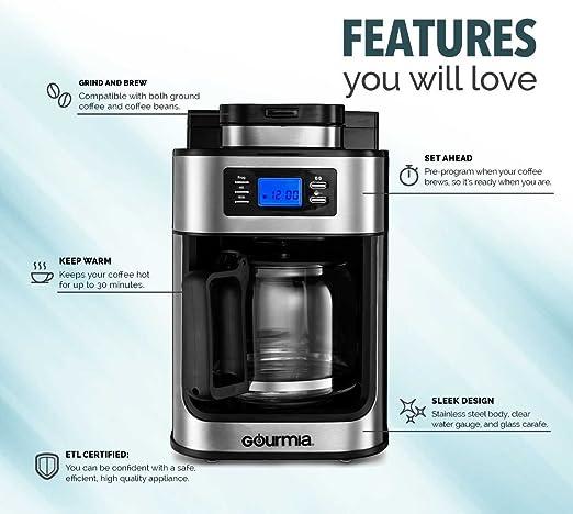 Amazon.com: Gourmia GCMW4750 WIFI - Cafetera con molinillo ...