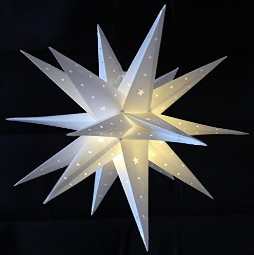 Stella Luminosa Di Natale.Stella Di Natale Bianco 58 Cm Led Batteria Interna Stella Esterno