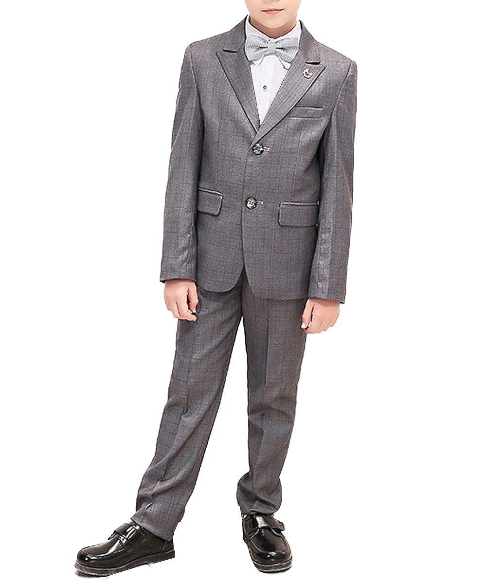 Boyland Boys Dress Suits Peak Lapel Plaid 2 Buttons Jacket Pants 2 Pieces Set