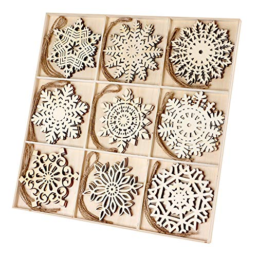 Joy-Leo 4 Inch Bulk Wood Snowflakes Christmas Ornaments & Wood Bar Drink Coasters (9 Patterns x 3 Sets=27pcs), Snowflake Unfinished Wood Cutouts Slices for Crafts and Christmas Tree Decoration