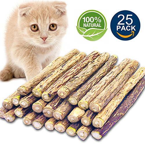 Matatabi Cat Catnip Sticks 25 Pcs or 50 pcs Cat Chew Sticks Dental Cleaning for Cats 100% Organic Silver Vine Dental Treats Molar Chew Toy Olfactory Enrichment