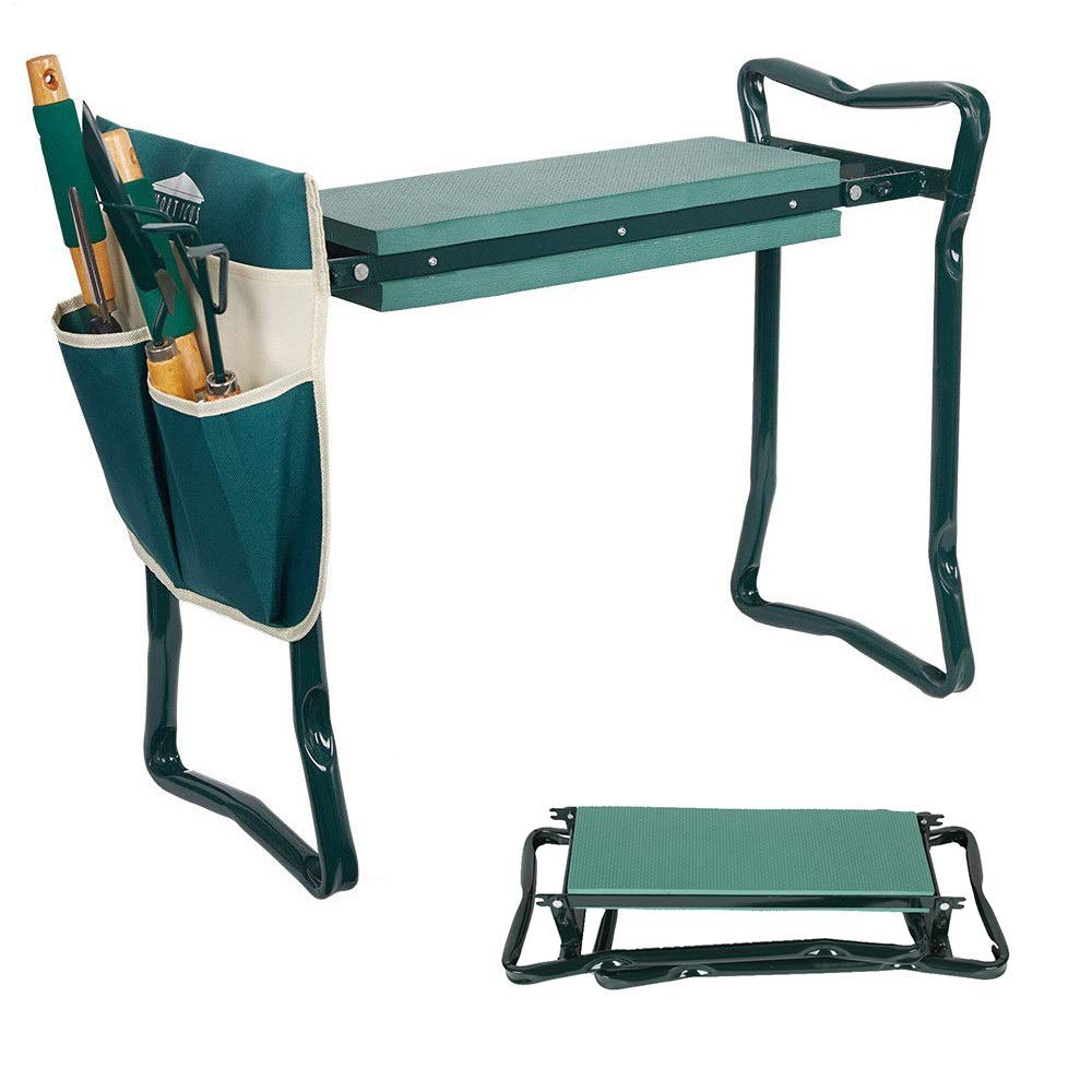 Dporticus 2 in 1 Foldable Gardening Kneeler Seat Bench Portable Stool with EVA Kneeling Pad and 2 Pouches