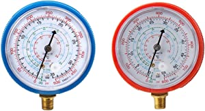 B4B BANG 4 BUCK Refrigerant Low and High Pressure Gauges 11.2mm for Air Conditioner R410A R134A R22 PSI KPA (Low and High Gauges)