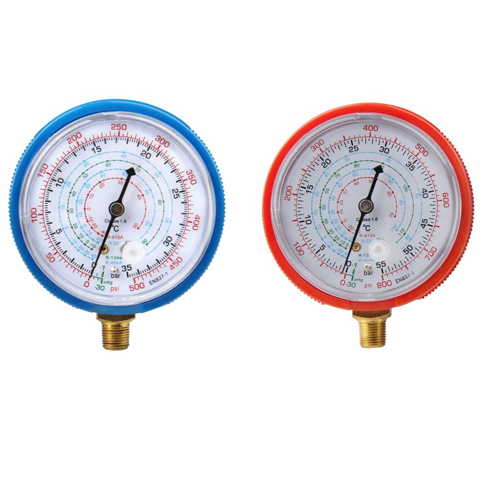 Bang4buck Refrigerant Low and High Pressure Gauges 11.2mm for Air Conditioner R410A R134A R22 PSI KPA (Low and High Gauges)