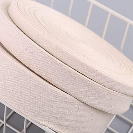 Egurs 50m Cotton Webbing Tape Beige Thick Edging Sewing Tape Strapping Bands 0.8cm