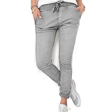 8219609170bacb Inlefen Pantalon Long pour Dames de Femmes - Taille élastique Confortable  Pantalons Slim Fit Mode Couleur