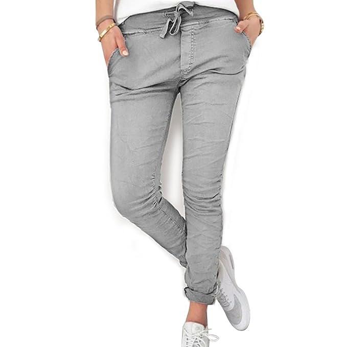 dd0c51b001b608 Inlefen Pantaloni lunghi per le signore delle donne - Comodi pantaloni  attillati in vita elastica di colore puro Pantaloni sportivi per lo yoga:  Amazon.it: ...