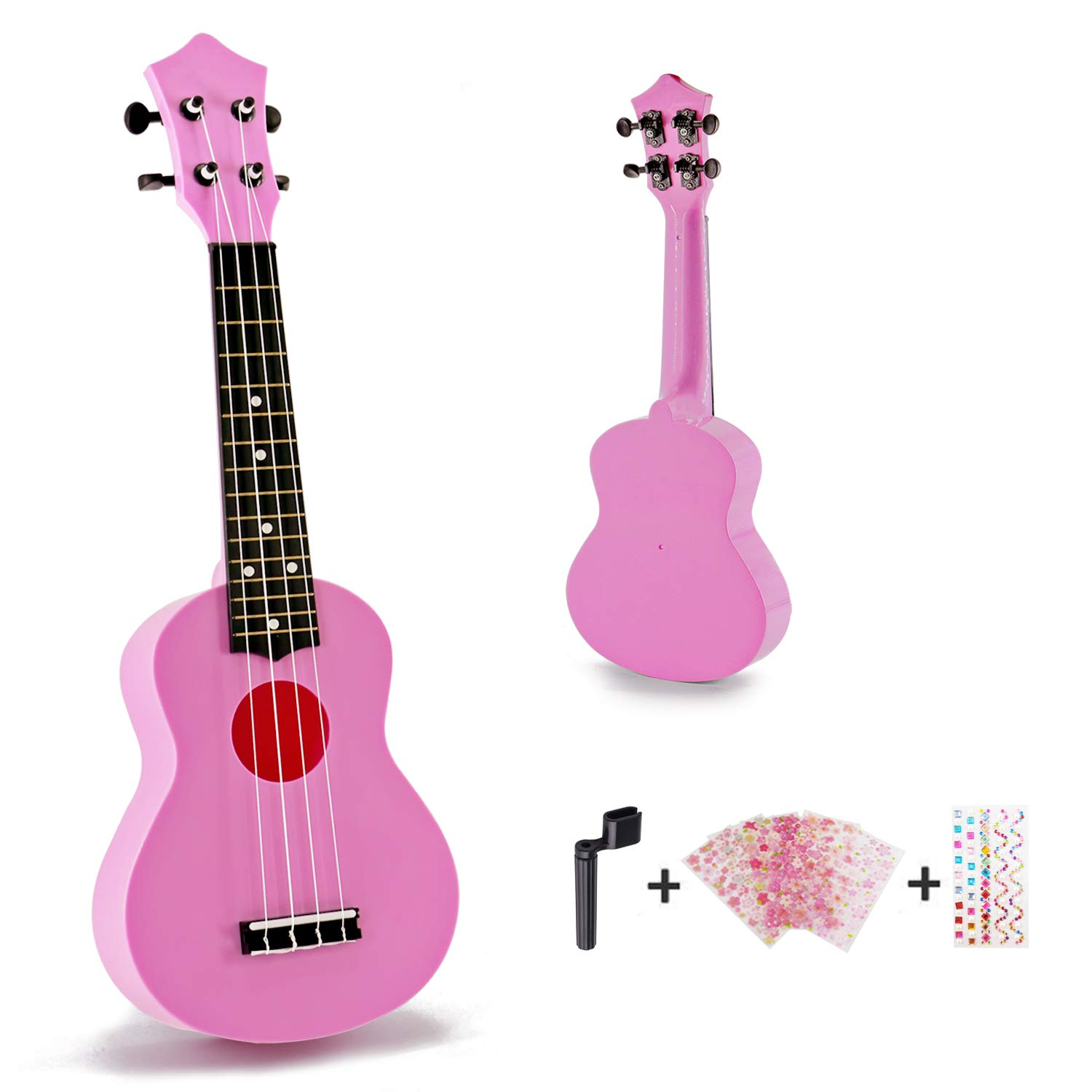 Toy Ukulele Soprano 21 inch Hawaiian Guitar Plastic Ukulele for Children Kids Gift Macaron Color Style-Pink M Y Fly Young