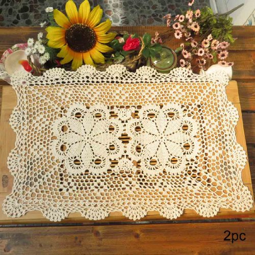 (kilofly Crochet Cotton Lace Table Placemats Doilies Set, 2pc, Oblong, Beige,15 x 23 inch)