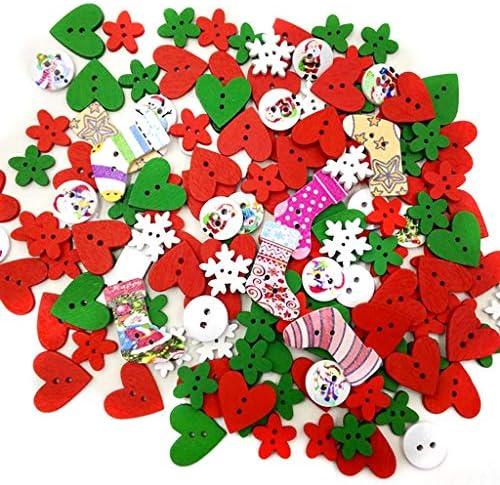 Biuuu (100の1パック)混合色のボタン - スノーフレーククリスマス、縫製DIYクラフト