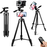 Lusweimi Tripod for iphone/camera, 55-Inch Selfie Phone Tripod Stand with Bluetooth Remote&2 Phone Holders, Aluminum Lightwei