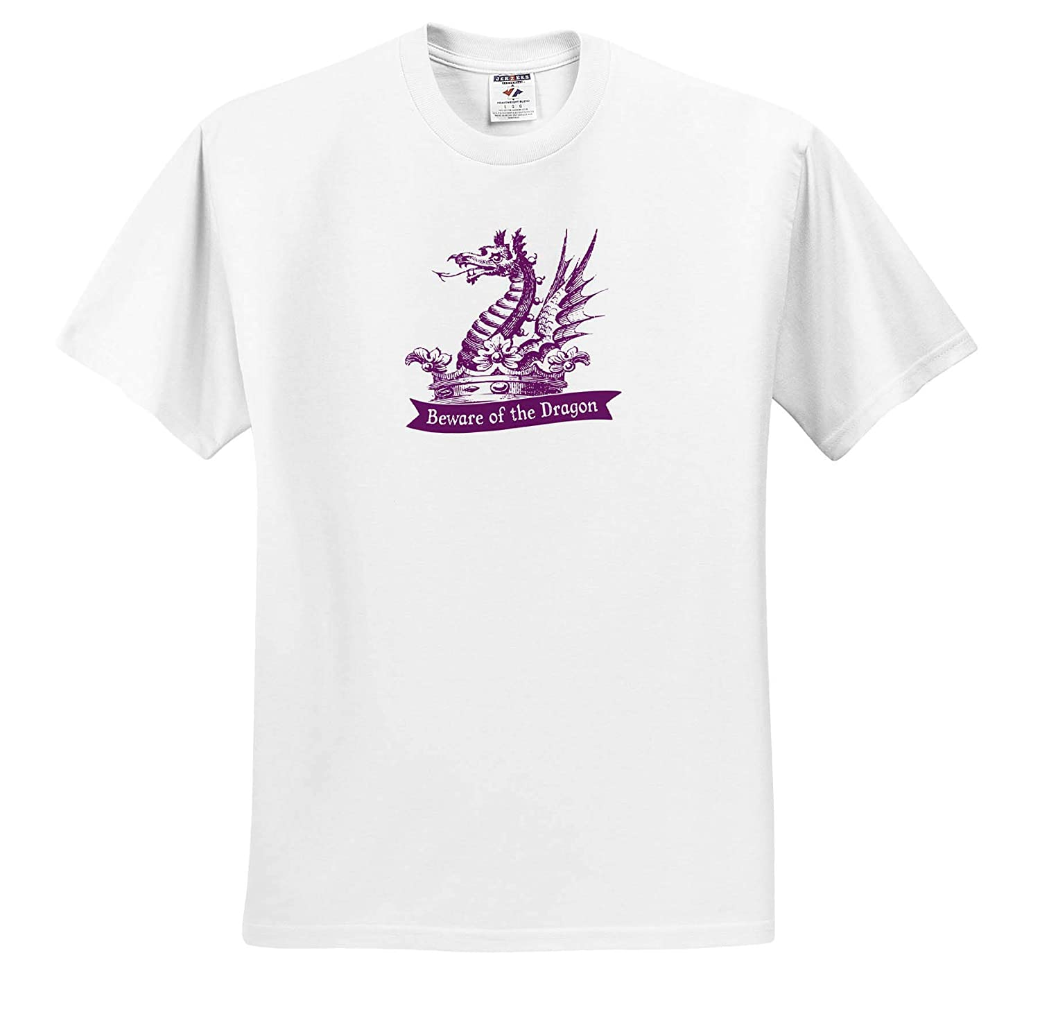Heraldic Dragon and Text in Purple T-Shirts 3dRose Russ Billington Designs Beware of The Dragon