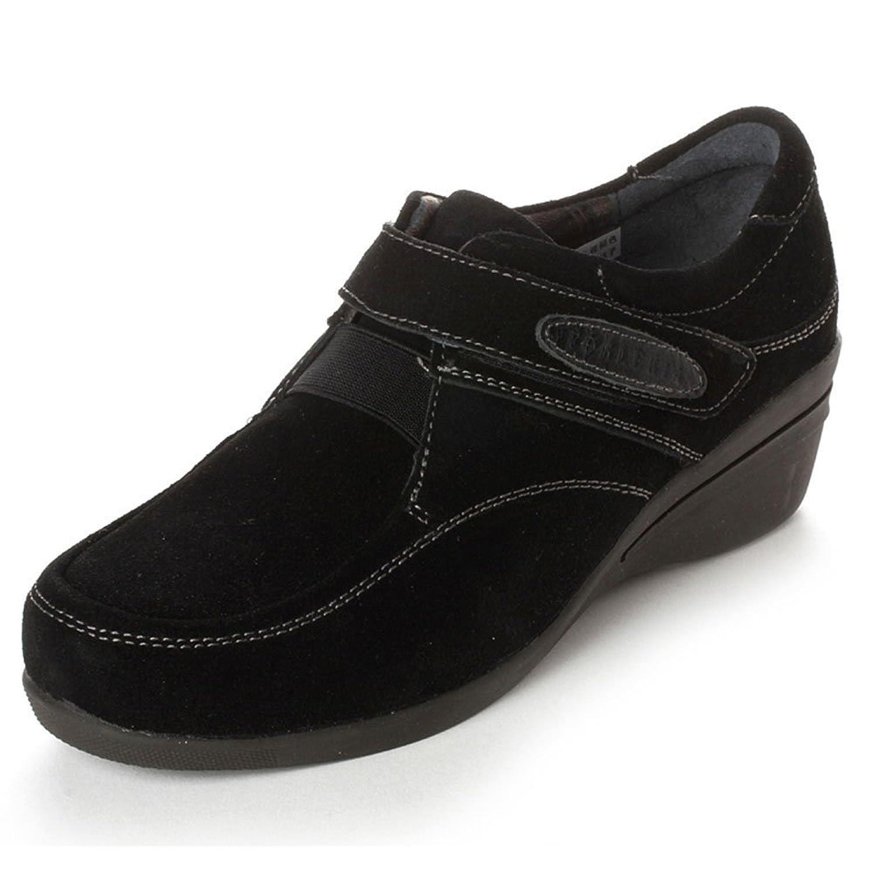 奥卡索香港官网_walker shop 奥卡索 forleria休闲舒适女鞋反毛坡跟女鞋113002 黑色