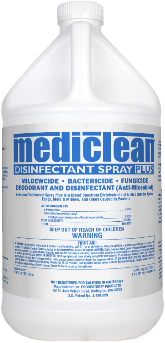 PRORESTORE Mediclean Disinfectant Spray Plus, Professional Broad-Spectrum Disinfectant for Mold, Mildew, Kills Organisms That Cause Odor, Decontaminate After Floods, MDSP, 1-Gal, 4 Pk (221522000)