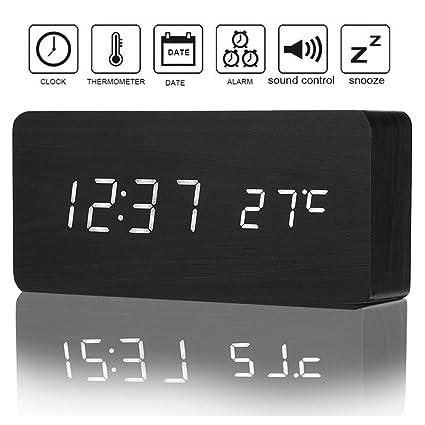 4df877282a1 Amazon.com  Izaway Wooden Digital Alarm Clock with Sounds Control