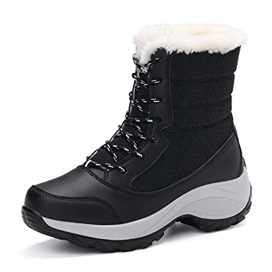 JACKSHIBO Womens Winter Boots Fur Lined Waterproof Outdoor Snow Boots Black 3fa2af9c78