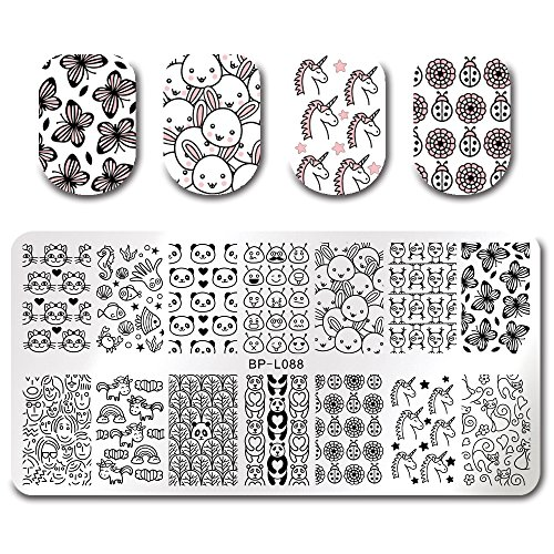 BORN PRETTY 7Pcs Nail Art Stamping Template Flower Fruit Summer Manicure Print DIY Image Plate with Stamper Kit by Born Pretty (Image #1)