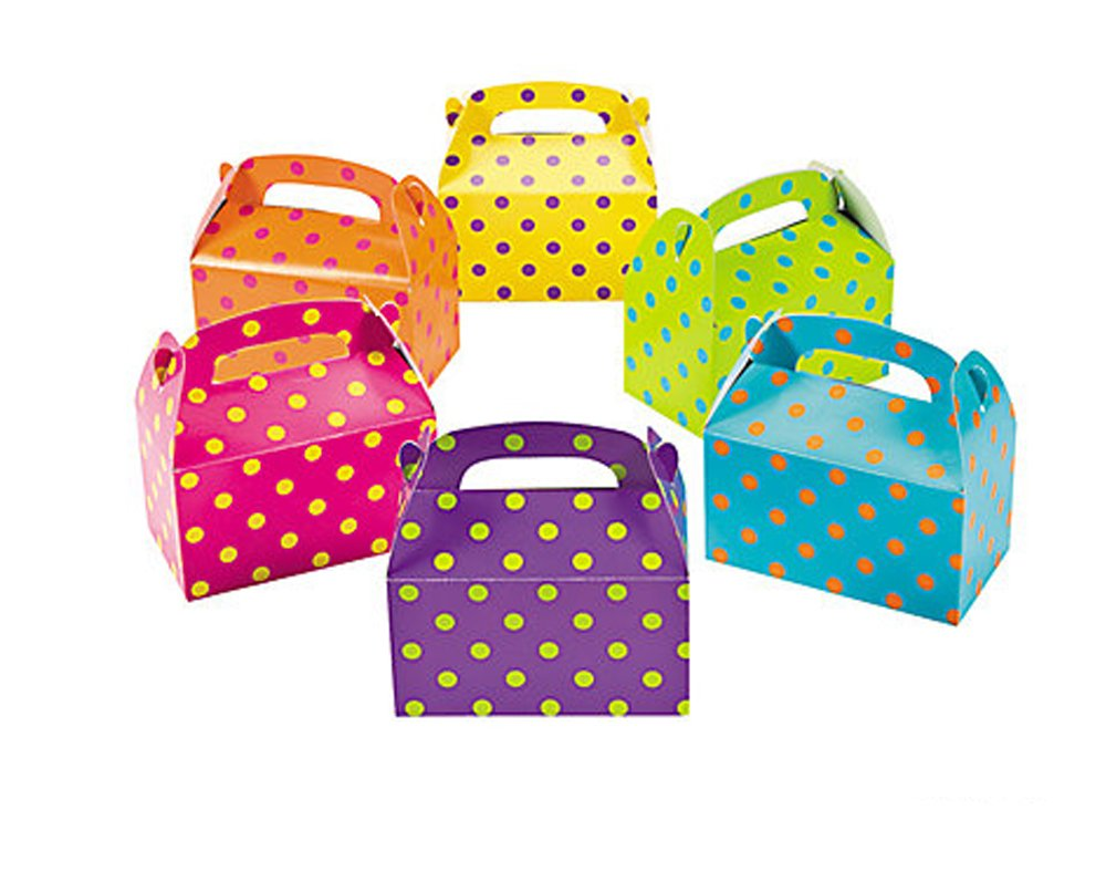 Blue Polka Dot Food Boxes ~ Spotty Loot Lunch Meal Box ~ Birthday Party Plate