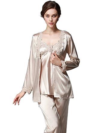 f74f74ddbc Pijama de Manga Larga para Mujer Conjuntos de Pijamas de Seda de satén Ropa  de Dormir Ropa de Dormir  Amazon.es  Ropa y accesorios