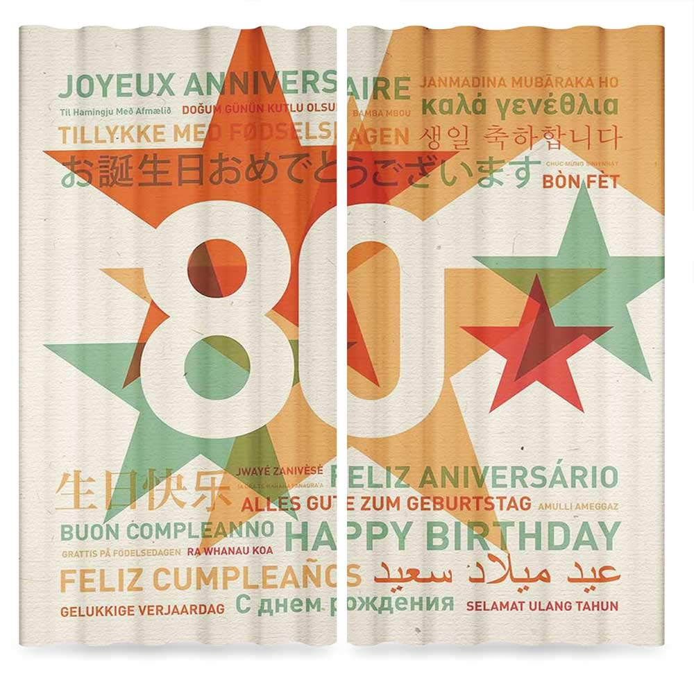 80th Birthday Decorations Window Curtains,80 Years Party with Universal Happy Birthday Wish,Living Room Bedroom Curtain, 2 Panel Set, 28W X 39L Inches