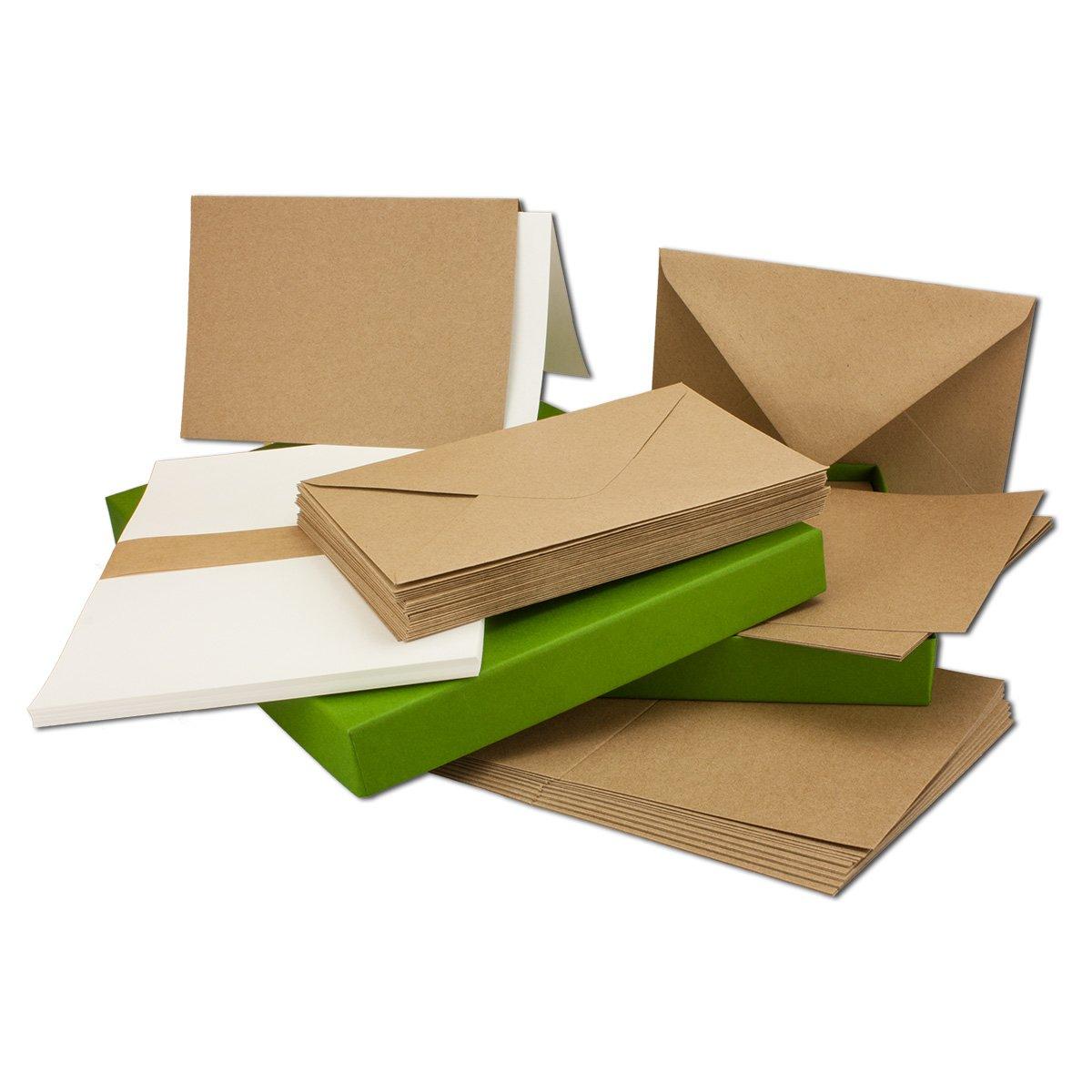 Vintage Kraftpapier-Karten Set mit Brief-Umschläge & Einlege-Blätter I 250 Sets I Blanko Recycling-Karten Natur-Braun I DIN A6   C6 B01MSX90IF | Erste in seiner Klasse