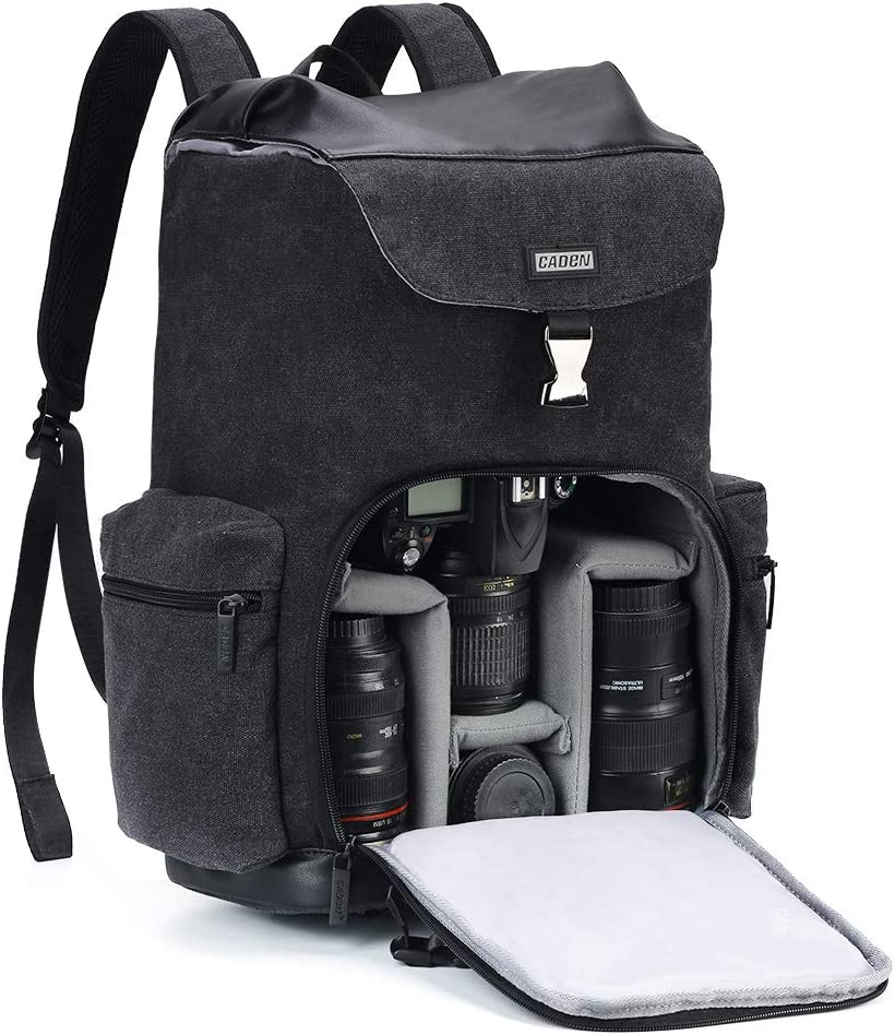 CADeN Camera Backpack Canvas Camera Bag for DSLR/SLR Mirrorless Camera with 14 inch Laptop Compartment, Camera Case Compatible for Sony Canon Nikon Cameras and Lens Tripod Waterproof Black