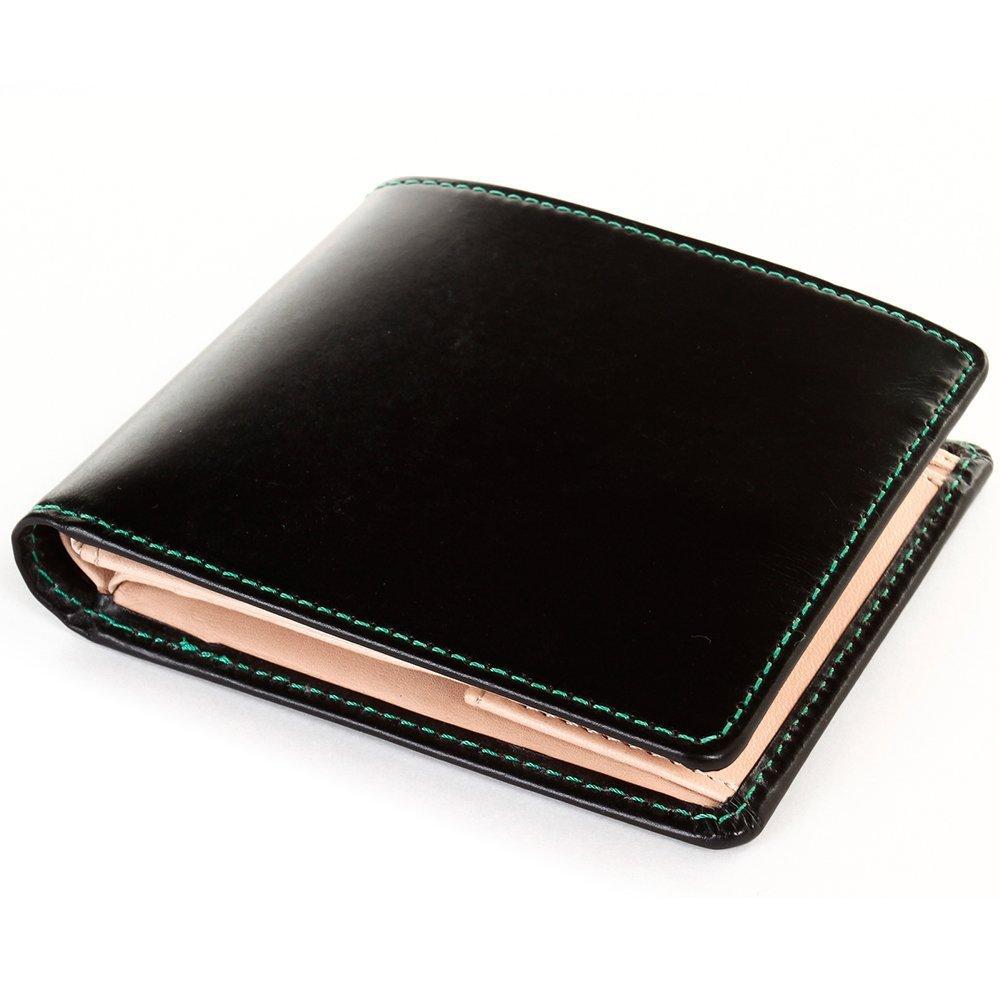 [ブリティッシュグリーン] ブライドルレザー 二つ折り財布 メンズ 本革 NEWモデル B076P4J9P8 14.グリーンステッチ 14.グリーンステッチ