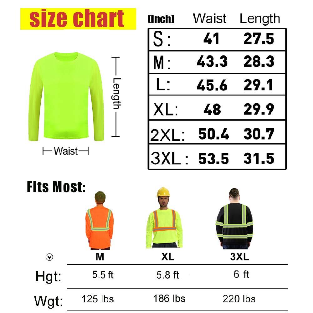 High Visibility Reflective Safety Shirts Customize Logo With Reflective Strips Hi Vis Long Sleeve Protective Workwear Orange XX-Large, Black - Style 8