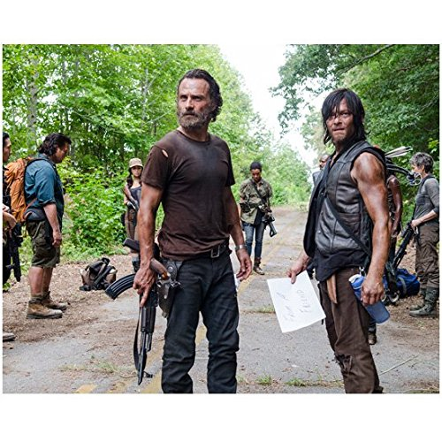 The Walking Dead Andrew Lincoln as Rick and Norman Reedus as Daryl with cast standing in road 8 x 10 Inch - Road Lincoln 10