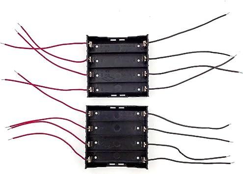JZK 2 x Caja Soporte de baterías 18650 Caja de Almacenamiento batería con 8 alambres para 4 Piezas 18650 batería Litio Recargable: Amazon.es: Electrónica