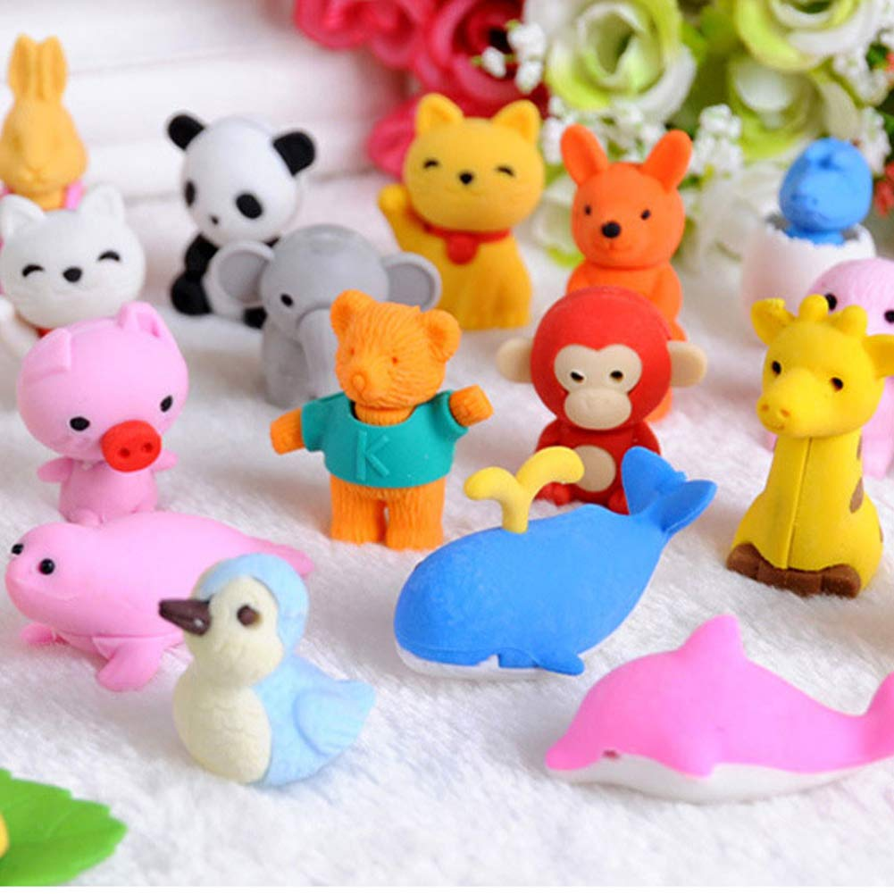 Classroom Prizes URSKYTOUS 60 Pcs Animal Pencil Erasers Bulk Kids Japanese Come Apart Puzzle Eraser Toys for Party Favors Carnival Gifts and School Supplies Random Designs