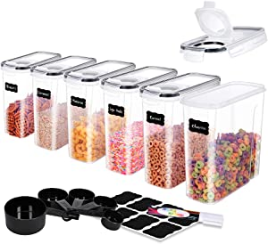 ME.FAN Medium Cereal Storage Containers [Set of 6] Airtight Food Storage Containers 2.5L(85.4oz) - Kitchen Storage Keeper with 5 Set Measuring Cups, 24 Chalkboard Labels & Pen (Black)