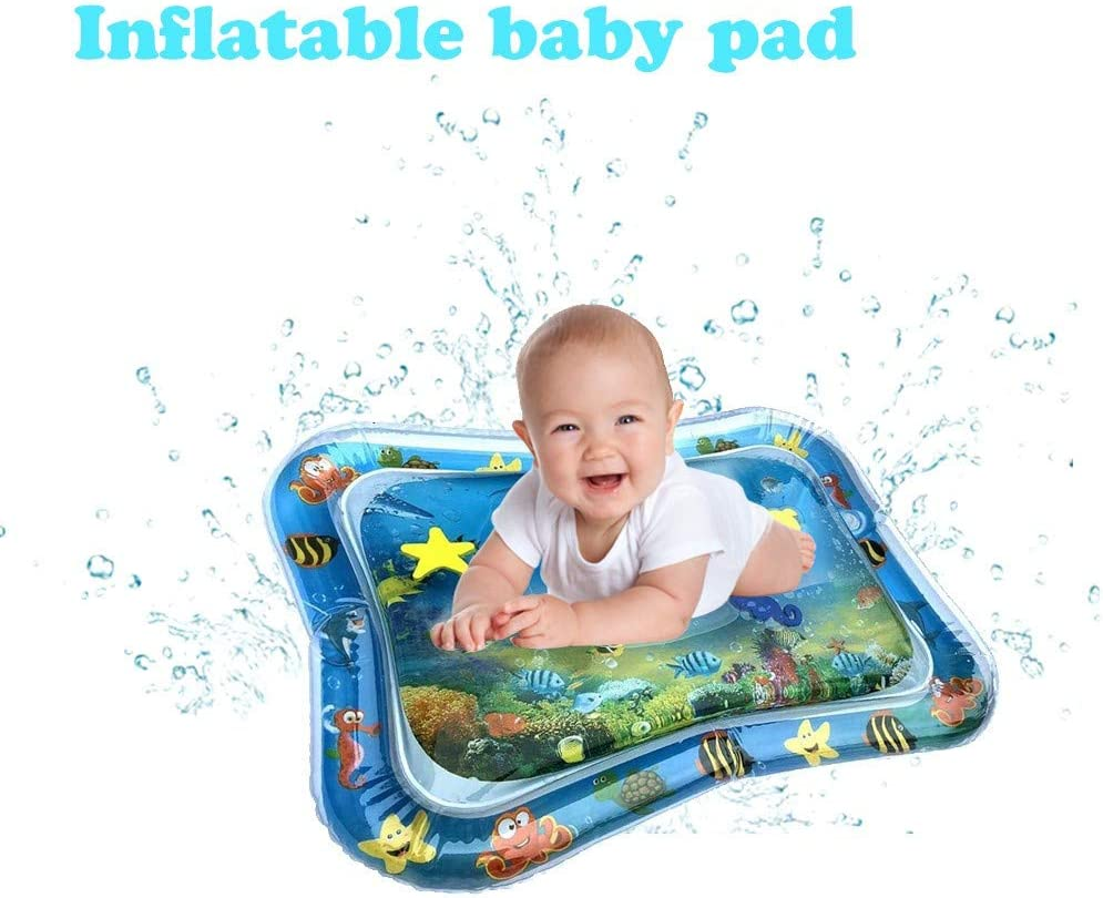 Weisfe78 2pcs Inflatable Tummy Time Premium Water mat Infants and Toddlers is The Perfect Fun time Play Activity Center Your Babys Stimulation Growth 19 Tall x 26 Wide