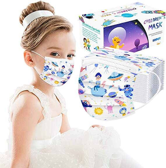 JSPOYOU 50PCS Childrens Disposable Face Industrial 3Ply Ear Loop